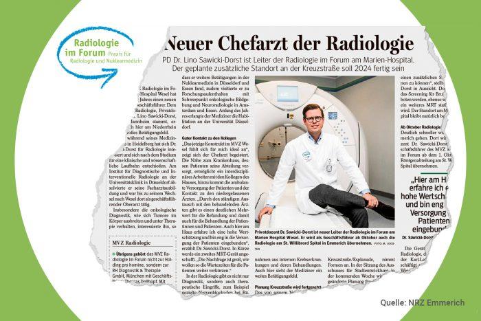 Aus der Presse: Chefarzt Dr. Sawicki-Dorst baut die Radiologie weiter aus