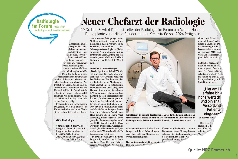 You are currently viewing Aus der Presse: Chefarzt Dr. Sawicki-Dorst baut die Radiologie weiter aus